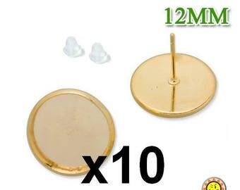 10 Golden Stud Earrings 12mm button