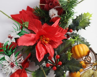 9 Christmas Tree Xmas Plastic Decorations Mixed lot Poinsettia Holly Nuts Pumpkins etc