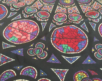 Large Silk Vintage Scarf, psychedelic, stained glass print, religious, roses, butterflies, mosaic