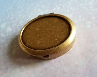 "Ready to Fill (Empty) Solid Perfume Compact, Antique Brass, Full-Recess Front, 48mm x 40mm Oval Compact, w/ Refillable Pan, ""Madison"" #2142"
