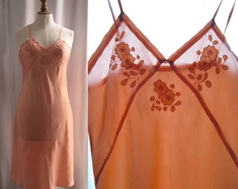 Vintage 1930's, Slip dress , silk satin, embroideries, peach color, small.