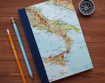 BOOK, Italy, Rome, Naples, Sicily, 6x8,5 inch, 150 p., blank, handbound, travel journal, diary, notebook, vintage, upcycling, dolche vita