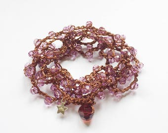 Antique rose Swarovski crystal bead crochet mala meditation necklace / yoga wrap bracelet