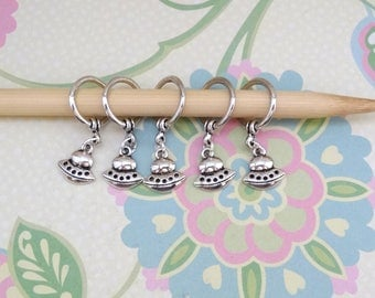 Set of 5 Silver UFO/Flying Objectsl Snag Free Stitch Markers for Knitting, Knitting Marker, Progress Marker, WIP Marker,Knittng Notions