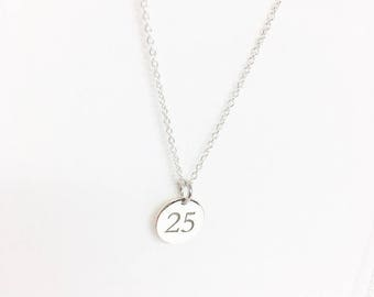Number tag charm .NO CHAIN. Sterling Silver initial Round Tag. Little tag laser engraved initial. Personalized necklace