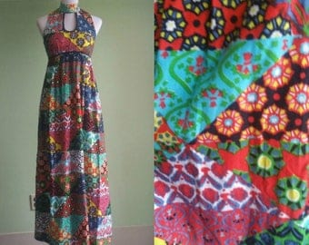 1960's 1970's Hippie Maxi Dress - Patchwork Festival Dress 60's 70's- Sleeveless -  S