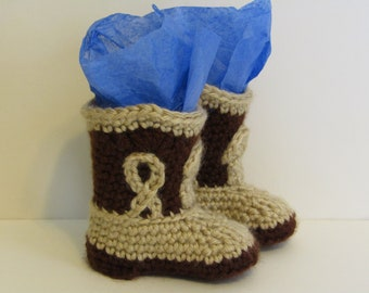 Crocheted Baby Western Cowboy Boots Photo Prop