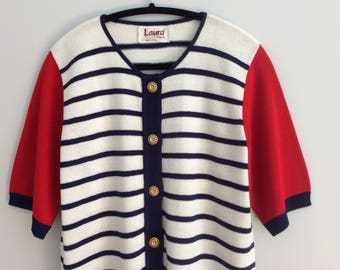 Vintage 80s Nautical Sweater Red Blue White Striped Resort Tunic Cardigan Gold Buttons Laura by Alyzia Size 14 Large made in USA