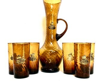 Cocktail Set Dark Amber Glass with Brass Ships, 7 pc Nautical Barware, Quality Handblown Glass