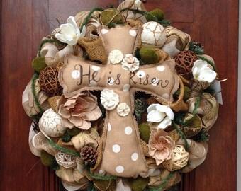 HE HAS RISEN Burlap and Mesh Wreath