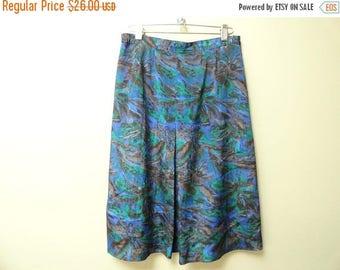 "SALE Secretary Skirt - Blue Green Floral print - Pleated - High Waist - Vintage 80s Size S M 28"""