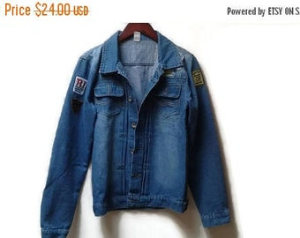 SALE Denim Jacket with Patches Jeans