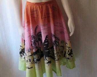 Circle Skirt Summer, pink orange chartreuse black tropical scene sequins LARGE