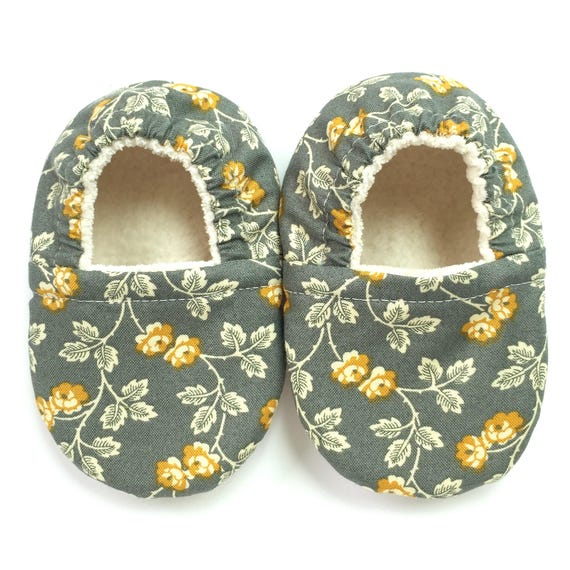 Grey Mustard Vines Soft Sole Vegan Baby Shoes