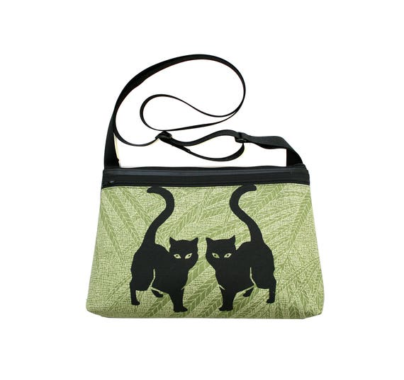 Black cats, screen print, green, medium crossbody, vegan leather, zipper top
