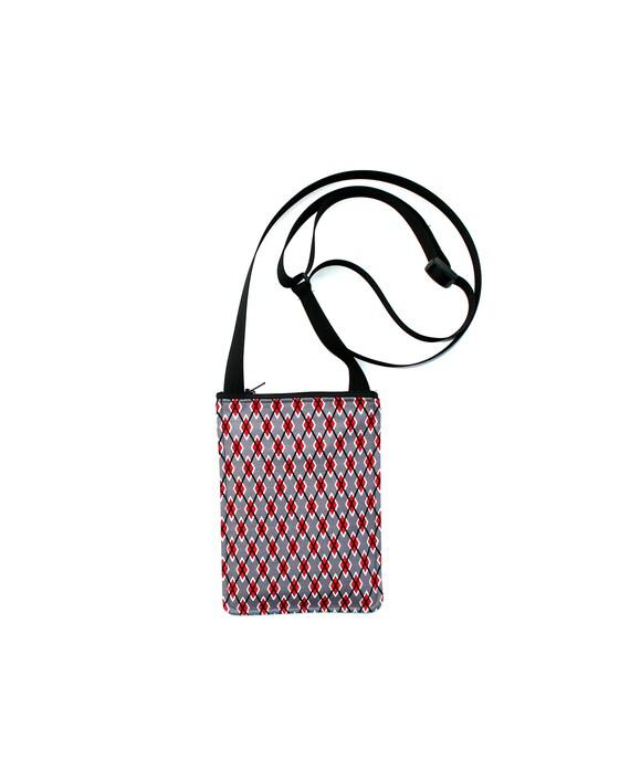 SALE! Argyle, small cross body, vegan leather, zipper top, passport bag, adjustable strap