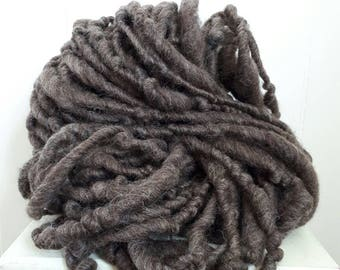 Extra bulky natural grey handspun yarn, thick and thin single 14oz skein, super chunky 50 yards
