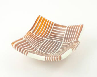 Amber Glass Bowl, Coin, Candy or Trinket Dish, Fused Glass, Unique Kitchen Decorations, Modern Stripes, Gifts for Home Chefs