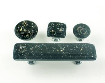 Glass Cabinet Knobs and Pulls, Door Handles, Black Furniture Hardware, Kitchen Renovation, Bathroom Remodeling, Choice of Size and Hardware