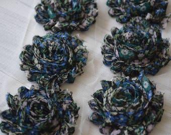 Teal/Navy Fall Floral Shabby Chiffon Flower Trim - Your choice of 1 yard or 1/2 yard -  Chiffon Rose Trim, DIY headband supplies,