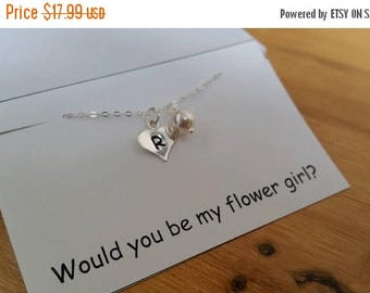 ON-SALE CHILD Size - Flower Girl Personalized Initial and Pearl Sterling Silver Necklace - Will you be my Flower Girl...