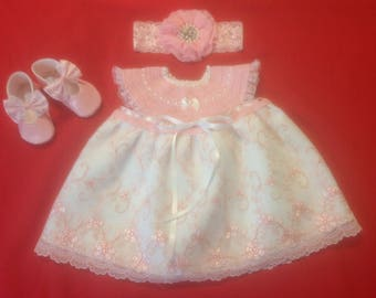 Newborn Baby Girl Coming Home Dress Set - Pink on Pink