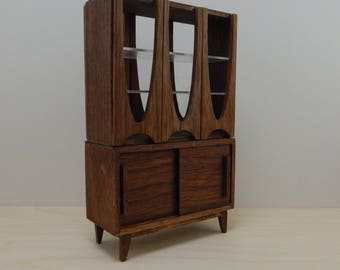 Slightly Flawed  1:12 Scale Miniature Mid-Century Modern Broyhill Brasilia Inspired China Cabinet