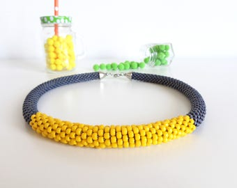 Yellow Rope Necklace // Summer Necklace // Gray Beaded Necklace // Gift Idea // Crochet Rope Necklace // Statement Necklace // Gift Guide