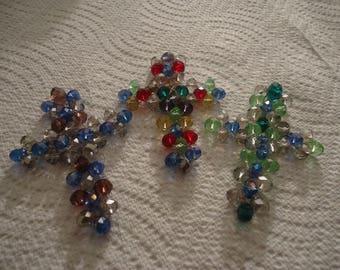 Beaded Cross Ornaments/Suncatcher - (3 Crosses)