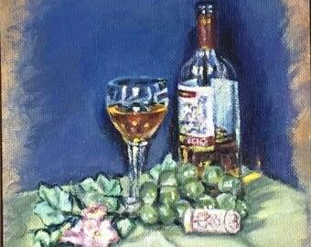 "Fine art 6X6 original still life oil painting ""Glass of Wine"""