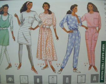Dress, Top, Jumper, Skirt, Pants & Leggings 1980s Butterick Pattern 4471 Sizes 6-8-10 Uncut Factory Fold