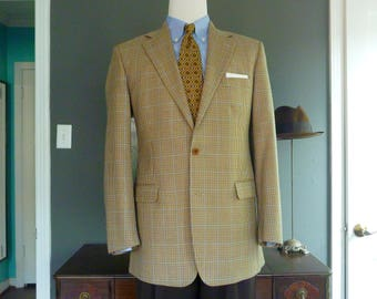 Brooks Brothers 100% Wool Multicolored Micro-Houndstooth Check Trad / Ivy League Sport Coat Jacket Sz 42 L.  Made in ITALY.