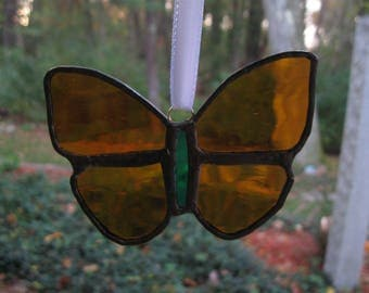 Stained Glass Burnt Orange Butterfly