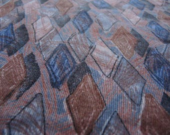 Vintage 1980s fabric soft stretchy knit abstract diamond neutral colors 55 inches wide