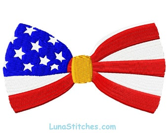 USA Flag Bow tie Fill Embroidery Designs INSTANT DOWNLOAD