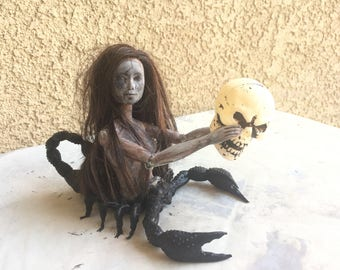 OOAK Scorpion Doll - Creepy Horror Unique Art Scorpion Doll with Skull