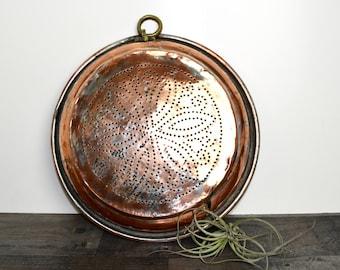 "Vintage Turkish copper strainer…hanging copper stainer...large copper strainer...copper colander...14""+ in diameter."