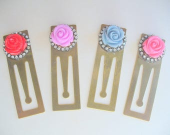 Metal Bookmark, Antiqued Brass, Rose and Rhinestone Bookmarks, Book Lover, Christmas Gifts, Red, Purple, Blue, Pink, Gift for her