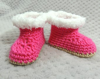 Pink Baby Boots, Pink Booties, Ugg Inspired Boots, Baby Girl Boots, Pregnancy Reveal, Gender Reveal, Baby Shower Gift, New Baby Gift, Reborn