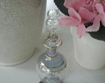 "Charming Glass Bird Perfume Bottle, Blue-Lavender Vintage Glass Perfume Bottle Rimmed in Gold, Shabby Chic Bird Decor, 6 1/2"" H x 2 1/8"" W"