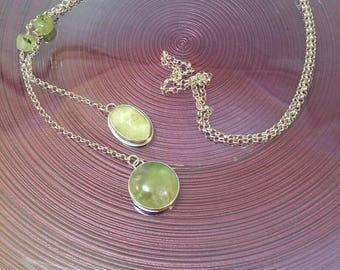 Pale lime green Prehnite sterling silver lariat, prehnite, lariat, sterling silver, long necklace, necklace, green stone long necklace