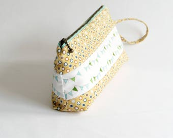 zipper purse in happy yellow with bunting.  zipper pouch. 8inch purse, large pencil case - Reduced to clear!