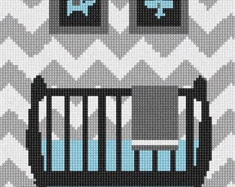 Needlepoint Kit or Canvas: Grey Chevron Baby Boy Crib