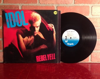 BILLY IDOL Rebel Yell Vinyl Record Album LP 1983 Flesh For Fantasy New Wave Punk Rock Pop Dance Music Vintage