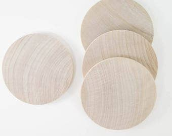 Unfinished Wood Discs Coins Circles - 2-15/16 inch (7.5 cm) | Hardwood Wooden Discs (10 Pack)