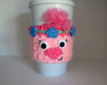Crochet Poppy the Troll Coffee Cup Cozy