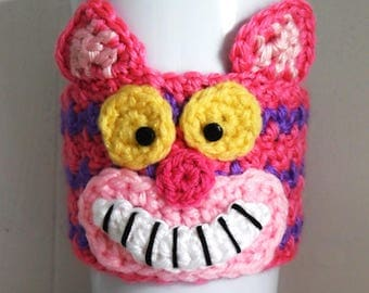 Crochet Cheshire Cat Coffee Cup Cozy
