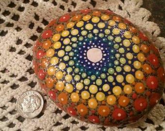 Like a Rainbow-Painted Mandala Garden Stone