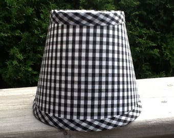 Black and white gingham petite check chandelier lampshades