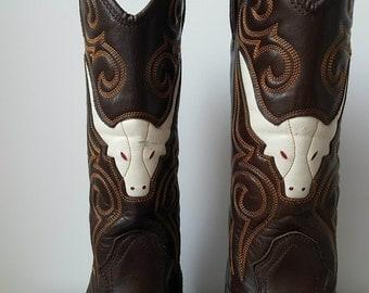 Cowboy Boots Joe Sanchez Mens Cowboy boots Brown Cowboy boots Western Boots Vintage cowboy boots eu size 41 us 8.5 uk 8